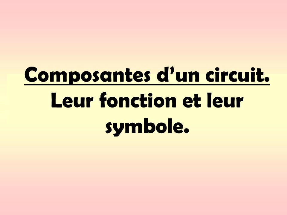 Composantes d'un circuit. Leur fonction et leur symbole.