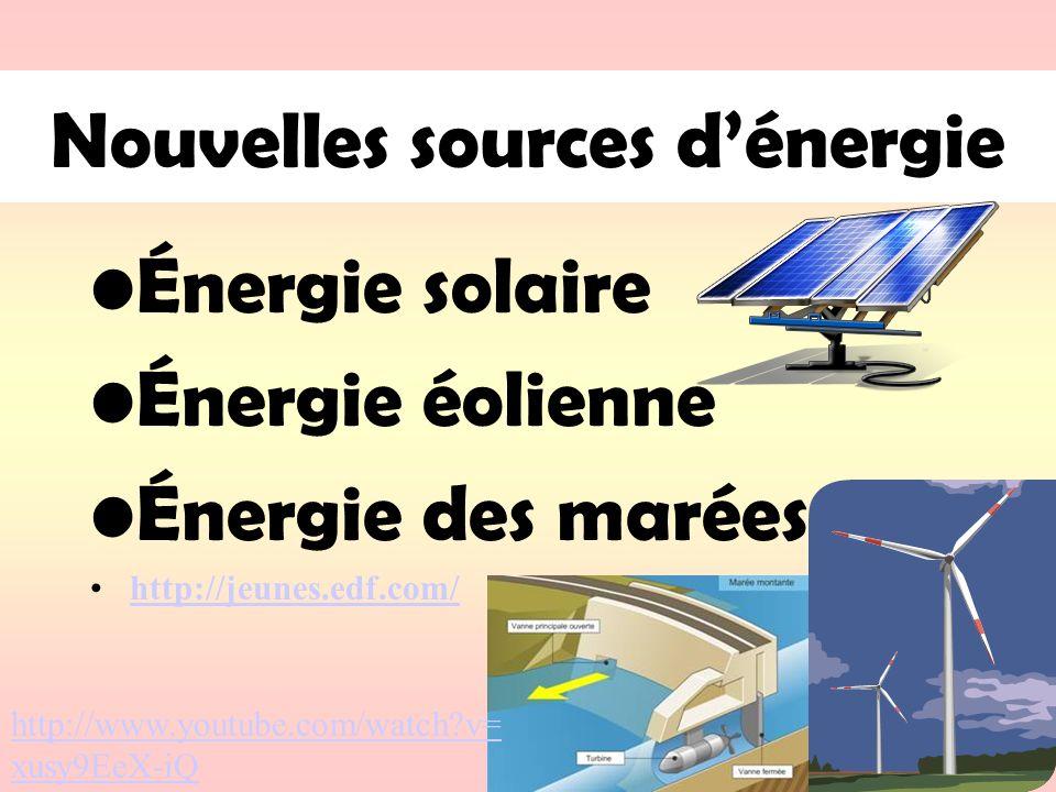 Nouvelles sources d'énergie