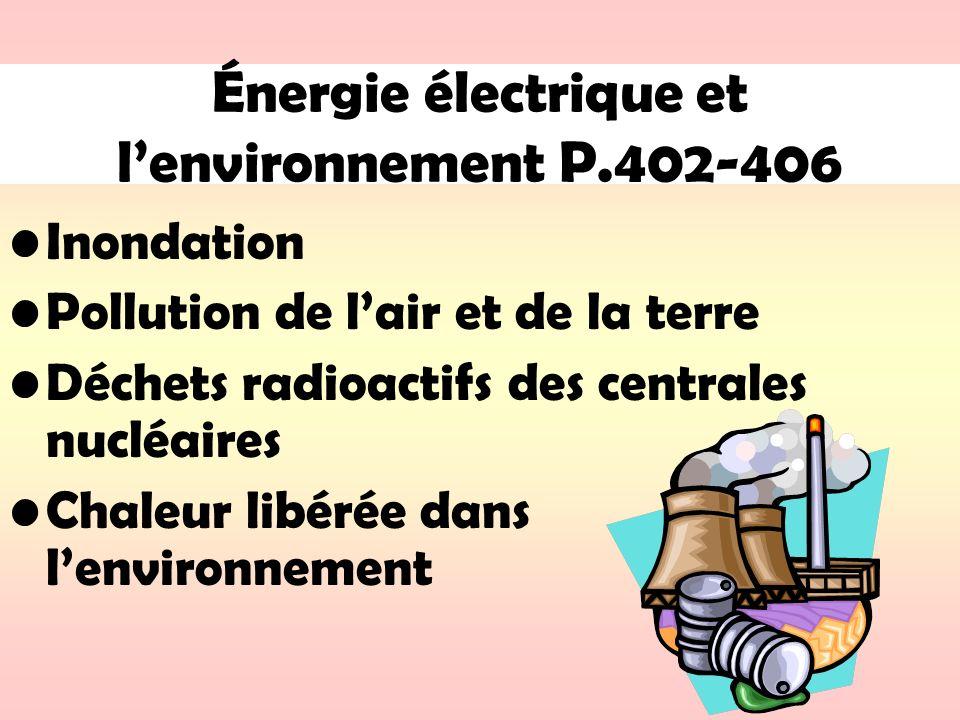 Énergie électrique et l'environnement P.402-406