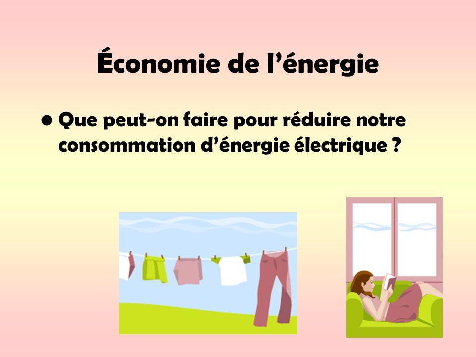 Économie de l'énergie Que peut-on faire pour réduire notre consommation d'énergie électrique