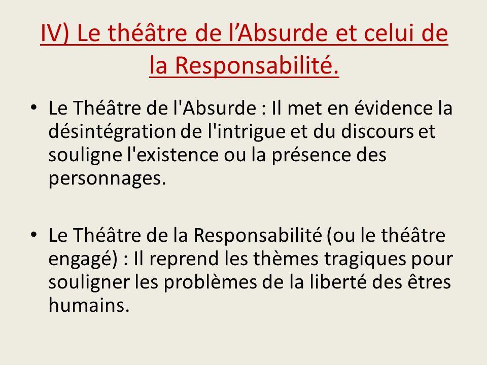 IV) Le théâtre de l'Absurde et celui de la Responsabilité.