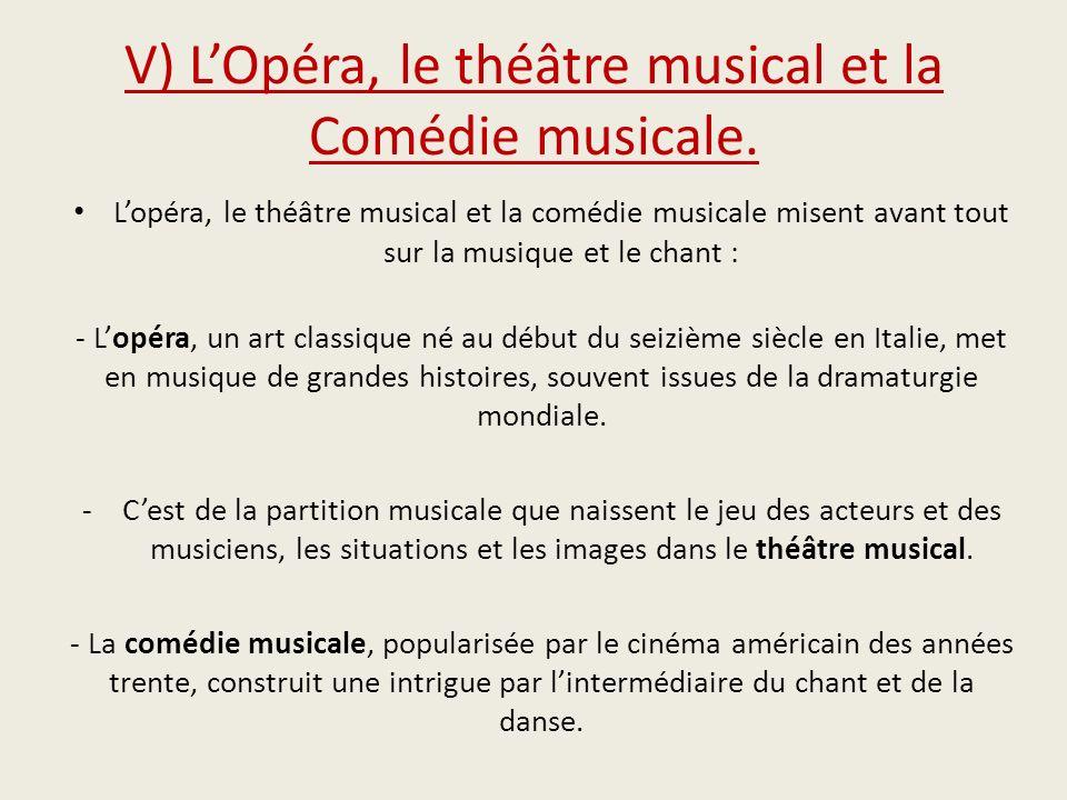 V) L'Opéra, le théâtre musical et la Comédie musicale.