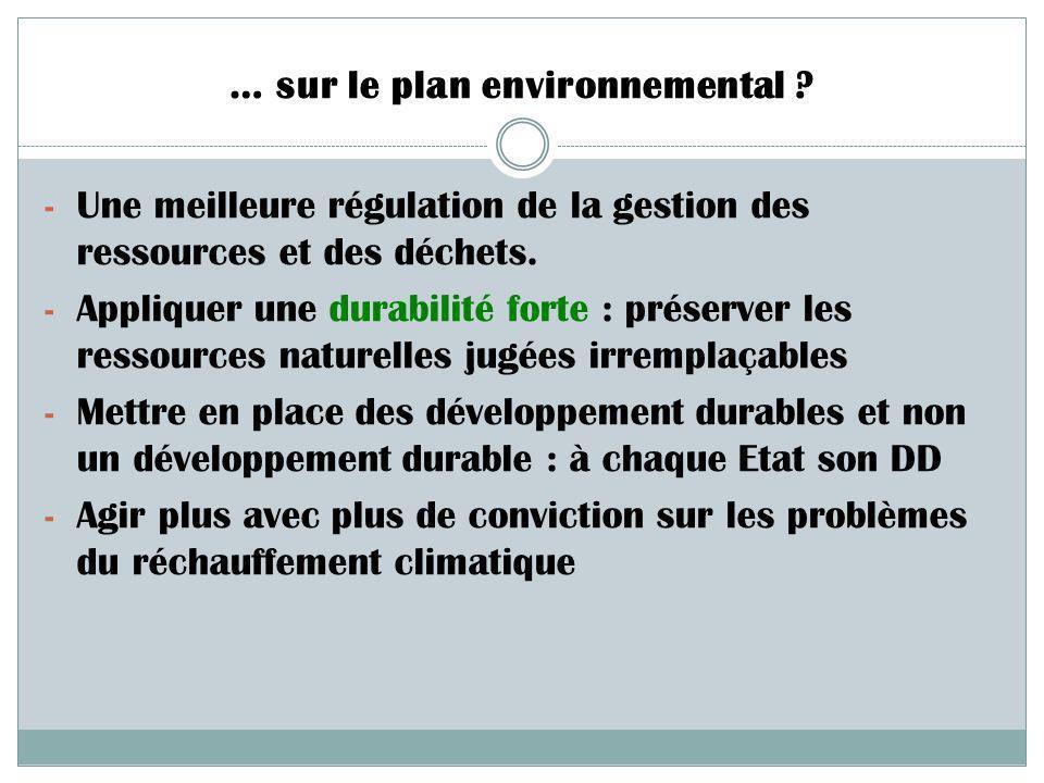 … sur le plan environnemental