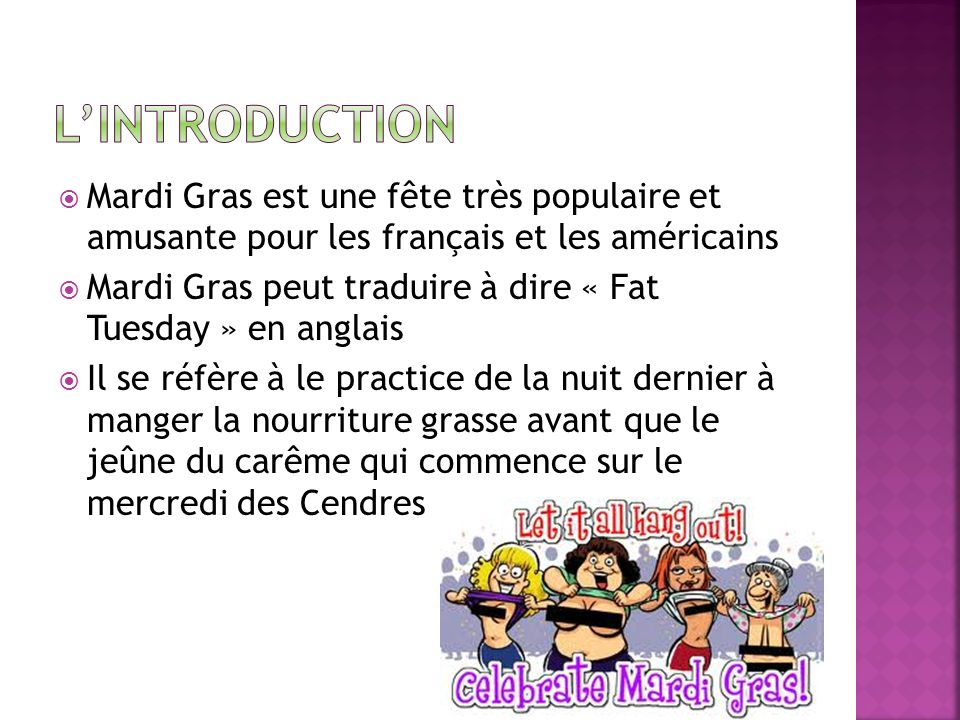 L'Introduction Mardi Gras est une fête très populaire et amusante pour les français et les américains.