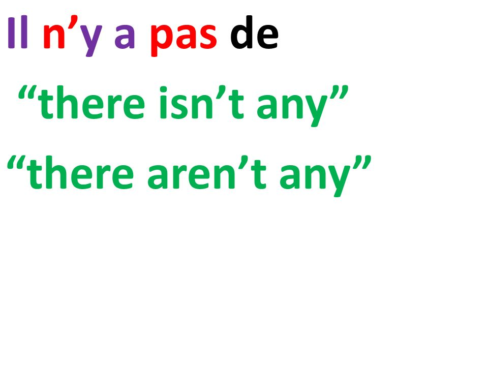 Il n'y a pas de there isn't any there aren't any