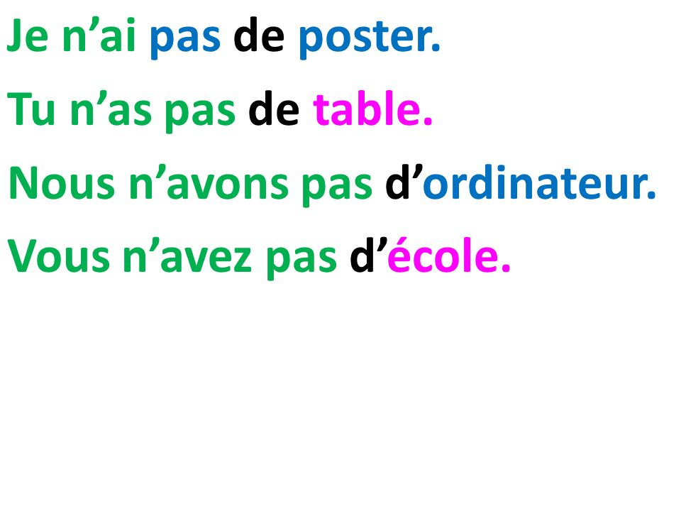 Je n'ai pas de poster. Tu n'as pas de table