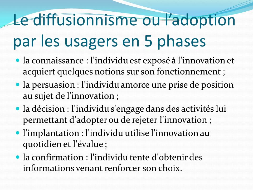 Le diffusionnisme ou l'adoption par les usagers en 5 phases
