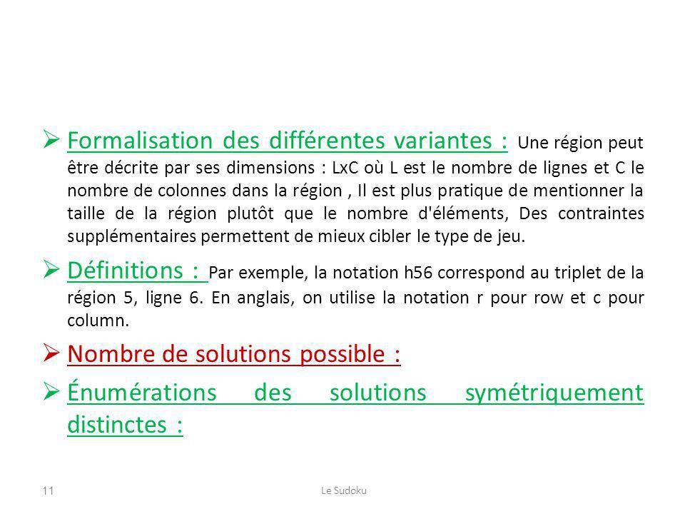 Nombre de solutions possible :