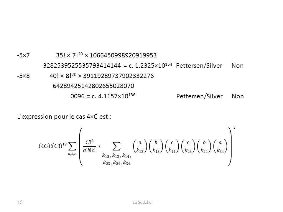 -5×7 35! × 7!20 × 1066450998920919953 3282539525535793414144 = c. 1.2325×10154 Pettersen/Silver Non -5×8 40! × 8!20 × 39119289737902332276 64289425142802655028070 0096 = c. 4.1157×10186 Pettersen/Silver Non L expression pour le cas 4×C est :