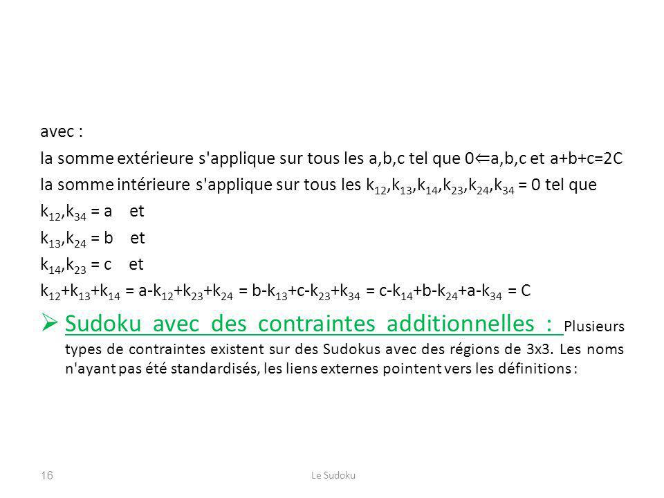 avec : la somme extérieure s applique sur tous les a,b,c tel que 0⇐a,b,c et a+b+c=2C.