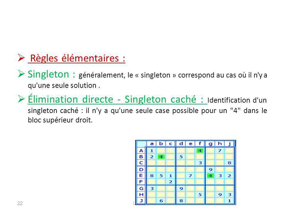 Règles élémentaires : Singleton : généralement, le « singleton » correspond au cas où il n y a qu une seule solution .