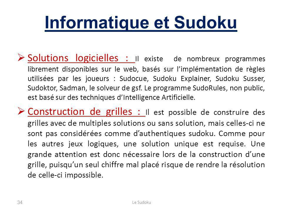 Informatique et Sudoku