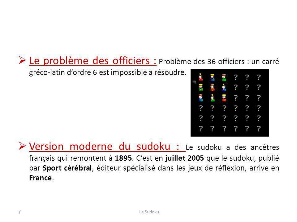 Le problème des officiers : Problème des 36 officiers : un carré gréco-latin d'ordre 6 est impossible à résoudre.