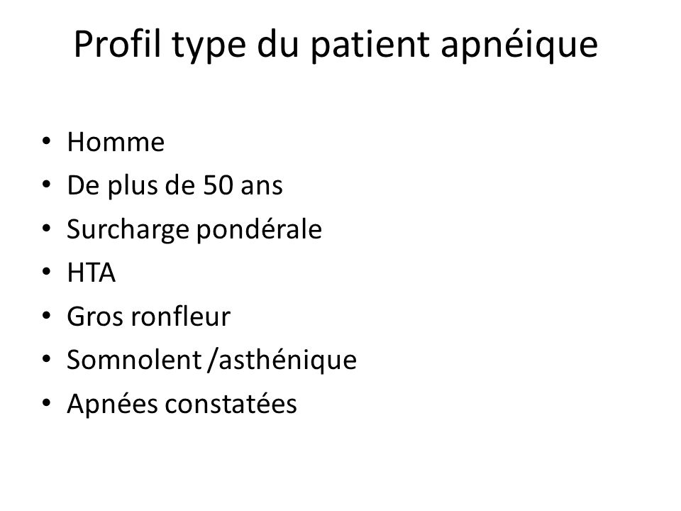 Profil type du patient apnéique