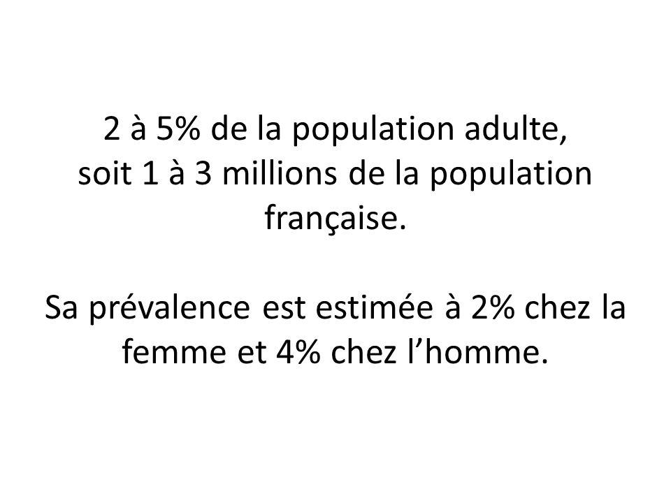 2 à 5% de la population adulte, soit 1 à 3 millions de la population française.