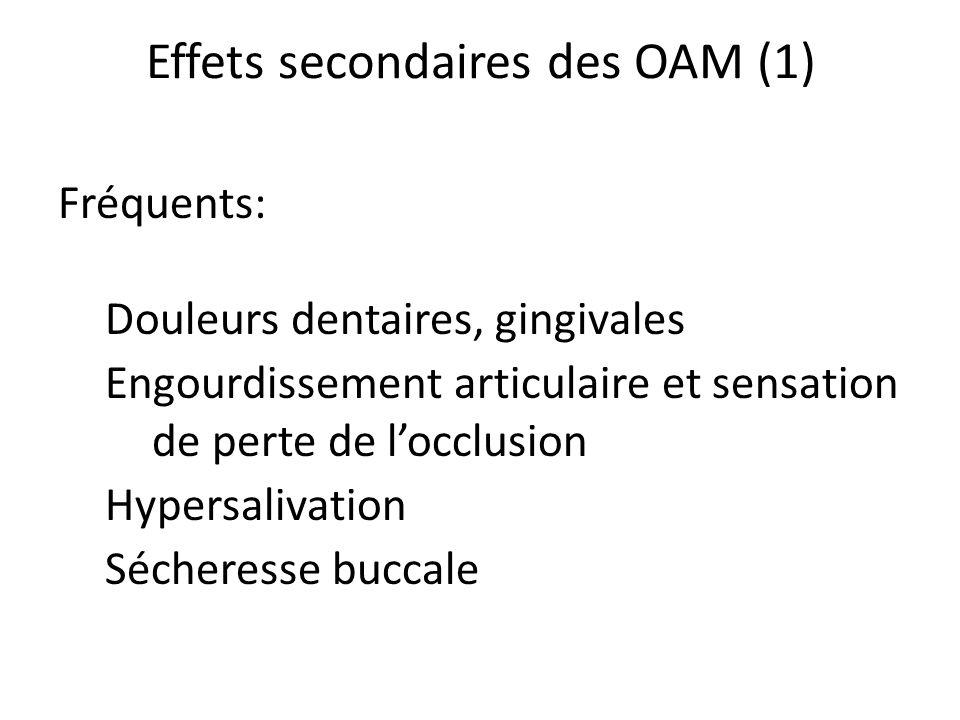 Effets secondaires des OAM (1)