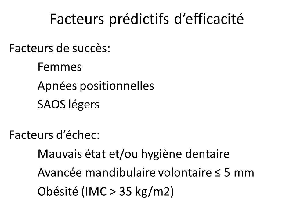 Facteurs prédictifs d'efficacité
