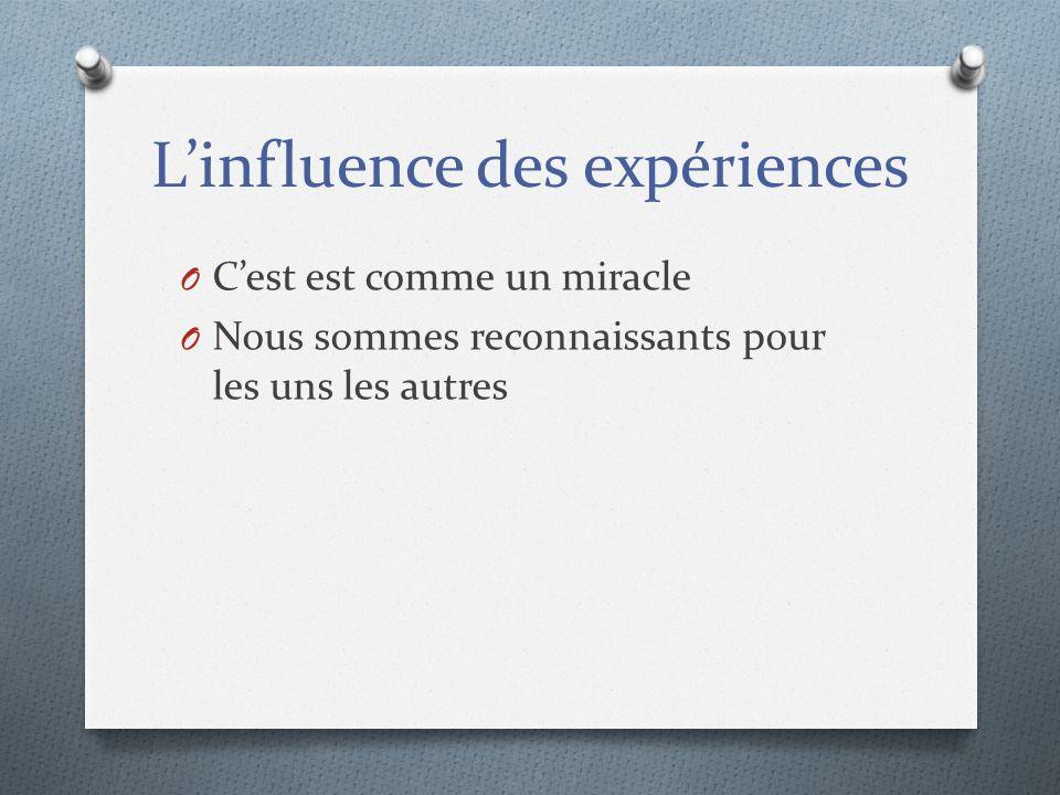 L'influence des expériences
