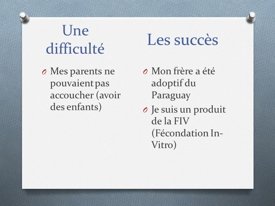 Les succès Une difficulté