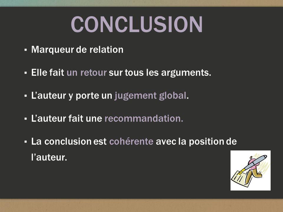CONCLUSION Marqueur de relation