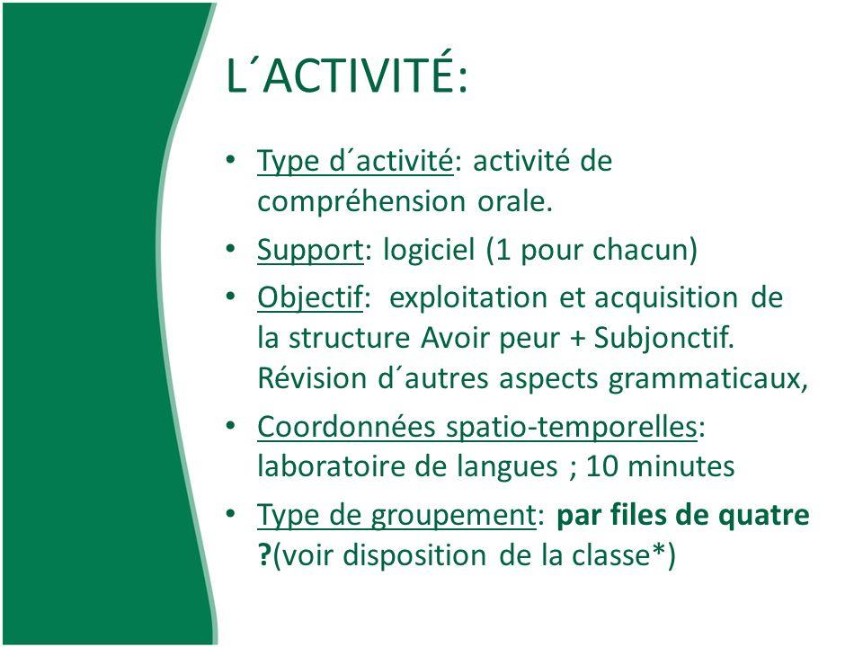 L´ACTIVITÉ: Type d´activité: activité de compréhension orale.