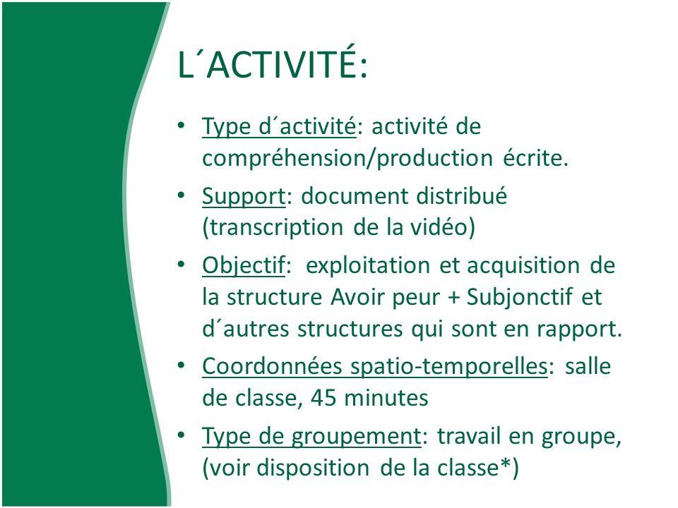 L´ACTIVITÉ: Type d´activité: activité de compréhension/production écrite. Support: document distribué (transcription de la vidéo)