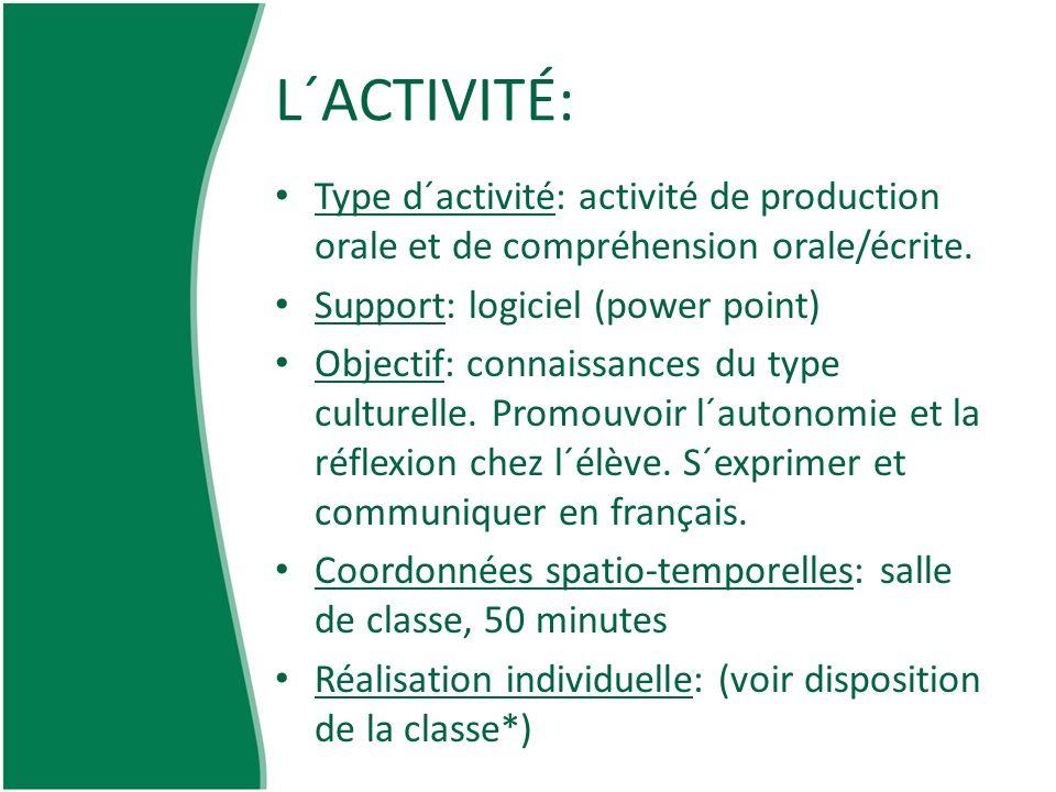 L´ACTIVITÉ: Type d´activité: activité de production orale et de compréhension orale/écrite. Support: logiciel (power point)