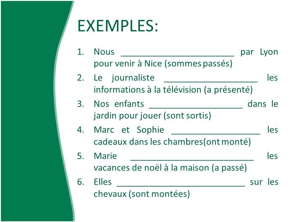 EXEMPLES: Nous _______________________ par Lyon pour venir à Nice (sommes passés)