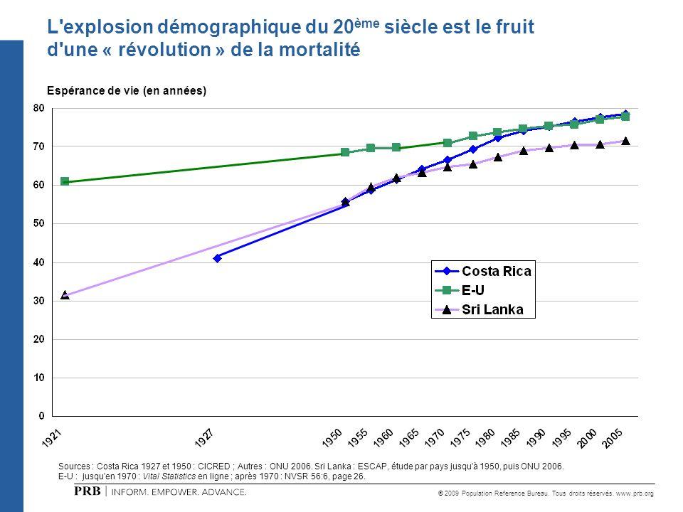 L explosion démographique du 20ème siècle est le fruit d une « révolution » de la mortalité