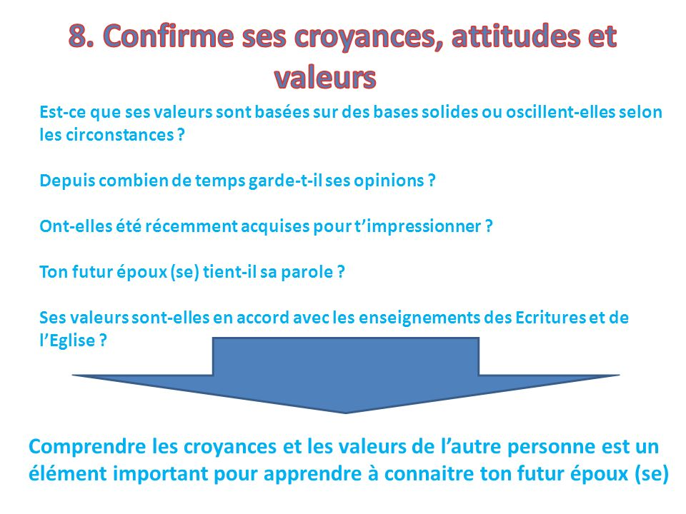 8. Confirme ses croyances, attitudes et valeurs