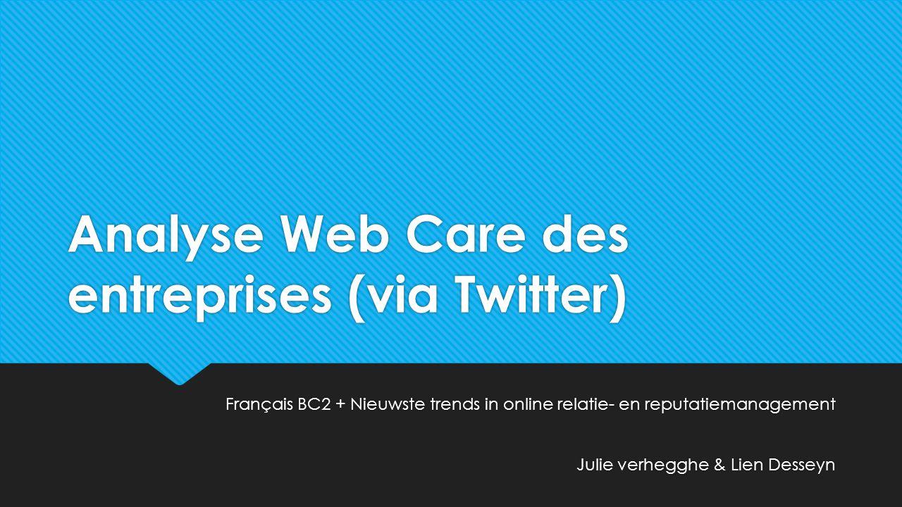 Analyse Web Care des entreprises (via Twitter)