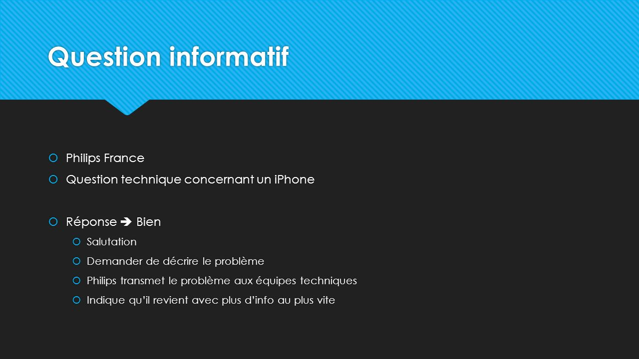 Question informatif Philips France