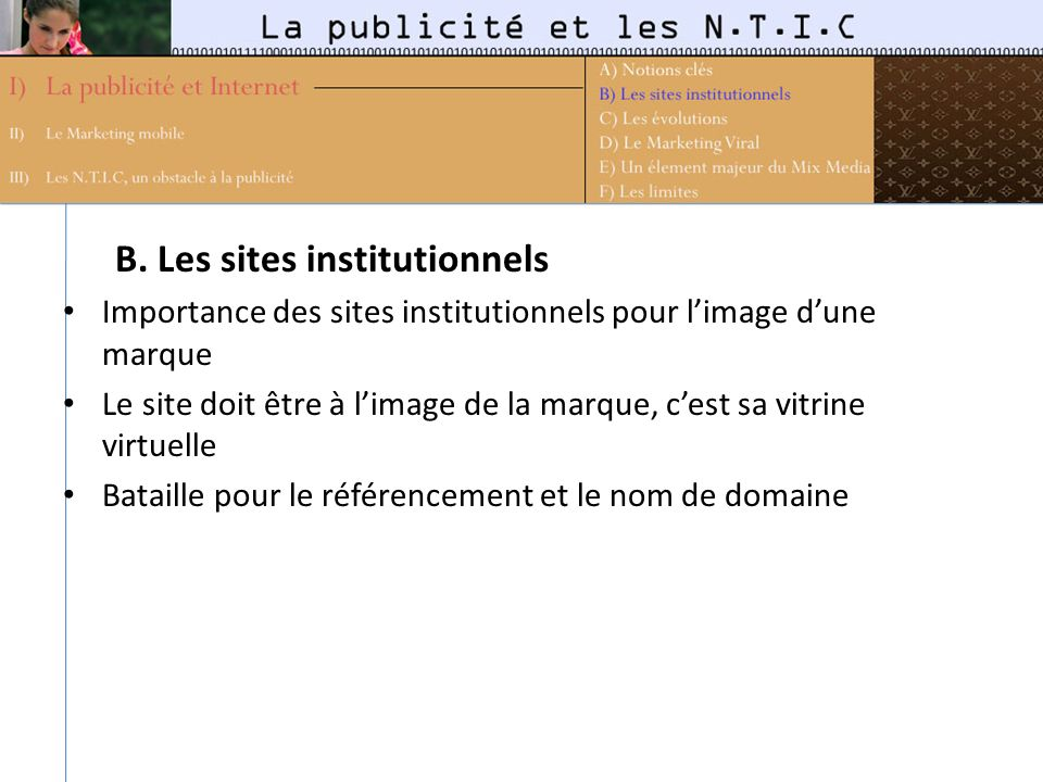 B. Les sites institutionnels