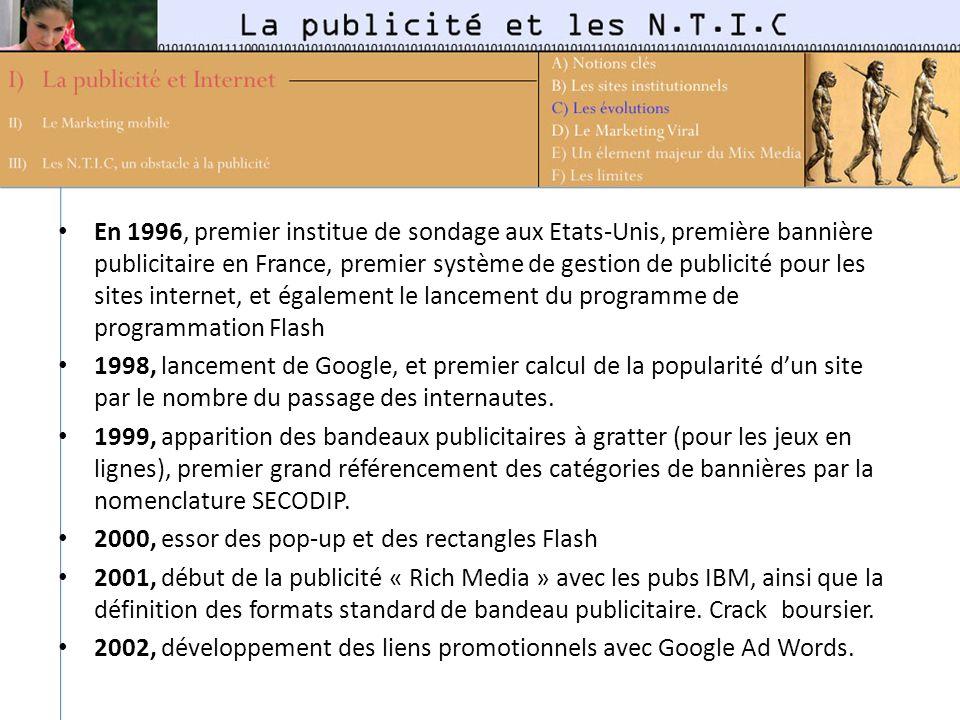 En 1996, premier institue de sondage aux Etats-Unis, première bannière publicitaire en France, premier système de gestion de publicité pour les sites internet, et également le lancement du programme de programmation Flash