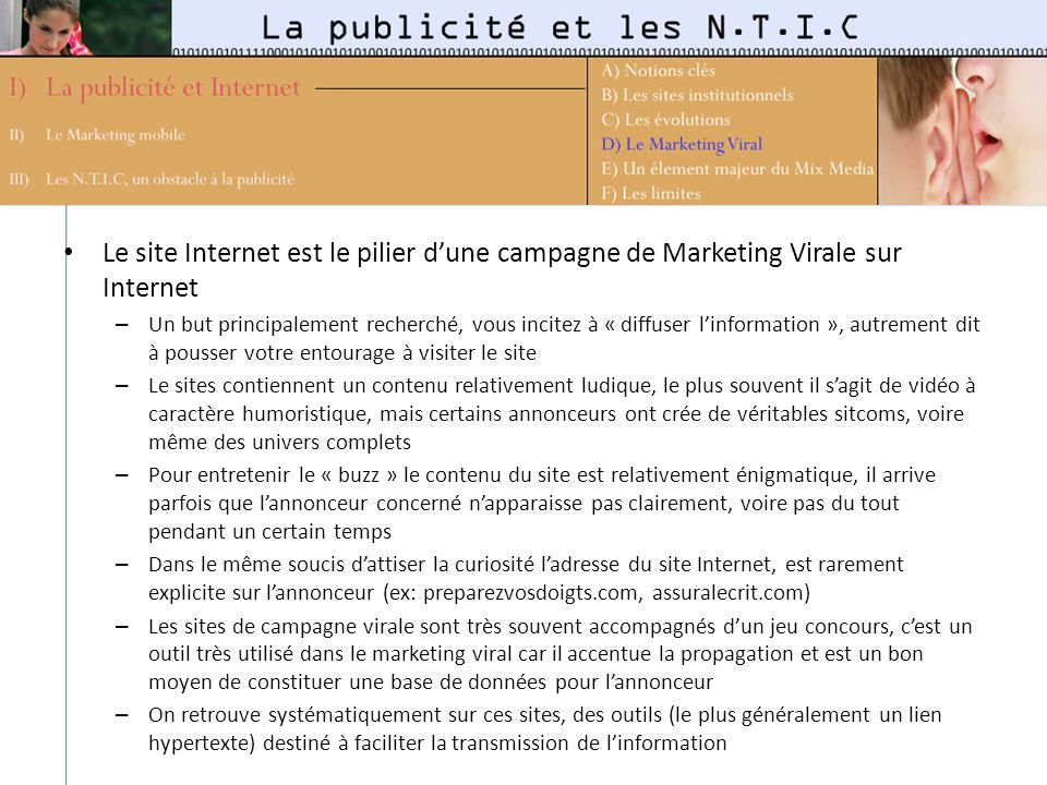 Le site Internet est le pilier d'une campagne de Marketing Virale sur Internet