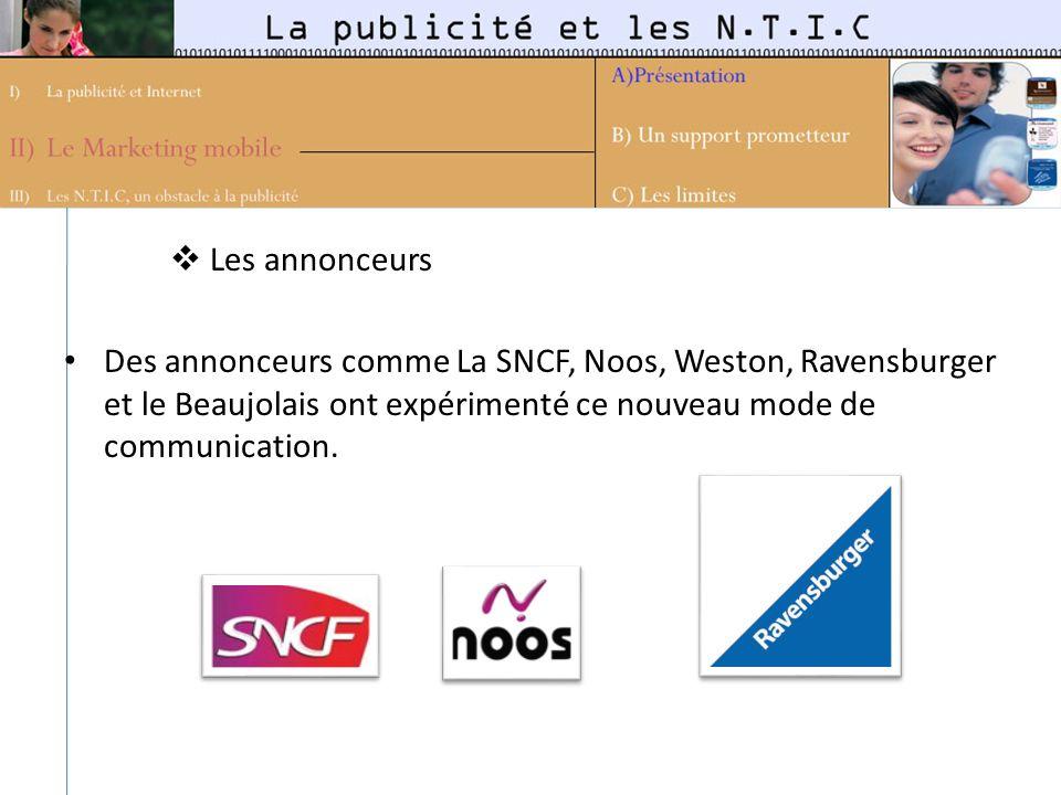 Les annonceurs Des annonceurs comme La SNCF, Noos, Weston, Ravensburger et le Beaujolais ont expérimenté ce nouveau mode de communication.
