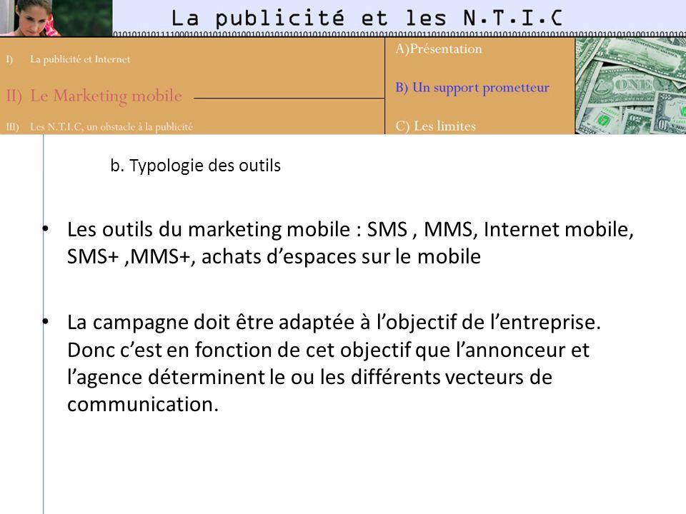 b. Typologie des outils Les outils du marketing mobile : SMS , MMS, Internet mobile, SMS+ ,MMS+, achats d'espaces sur le mobile.