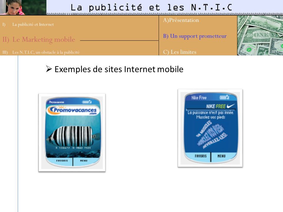 Exemples de sites Internet mobile