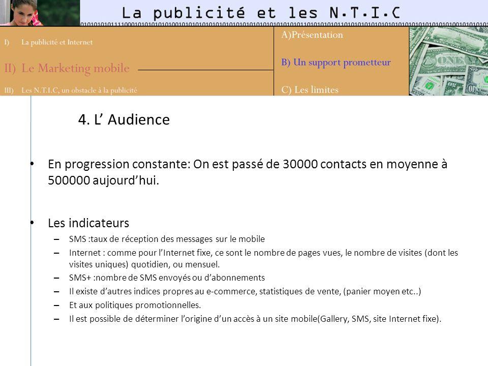 4. L' Audience En progression constante: On est passé de 30000 contacts en moyenne à 500000 aujourd'hui.