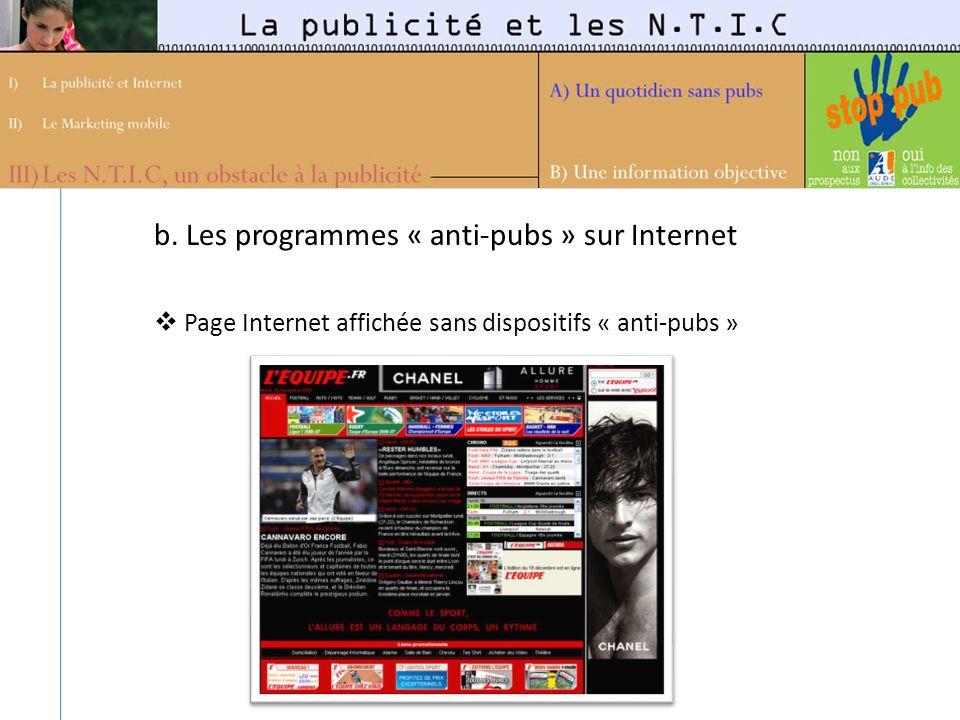 b. Les programmes « anti-pubs » sur Internet