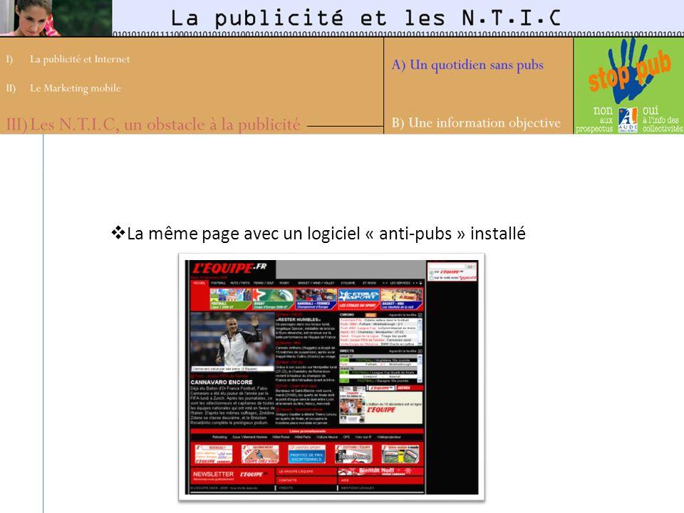 La même page avec un logiciel « anti-pubs » installé