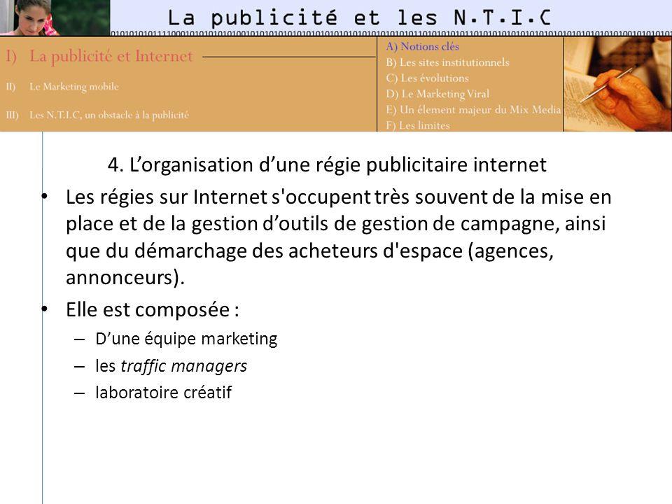 4. L'organisation d'une régie publicitaire internet