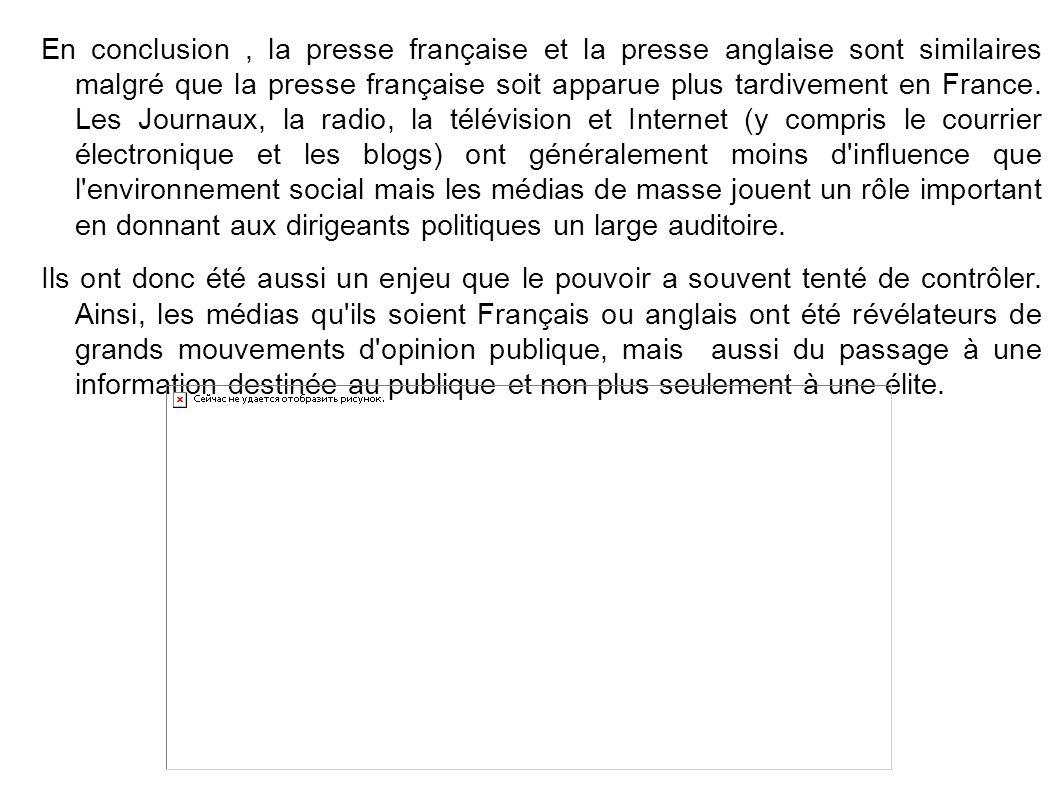En conclusion , la presse française et la presse anglaise sont similaires malgré que la presse française soit apparue plus tardivement en France. Les Journaux, la radio, la télévision et Internet (y compris le courrier électronique et les blogs) ont généralement moins d influence que l environnement social mais les médias de masse jouent un rôle important en donnant aux dirigeants politiques un large auditoire.