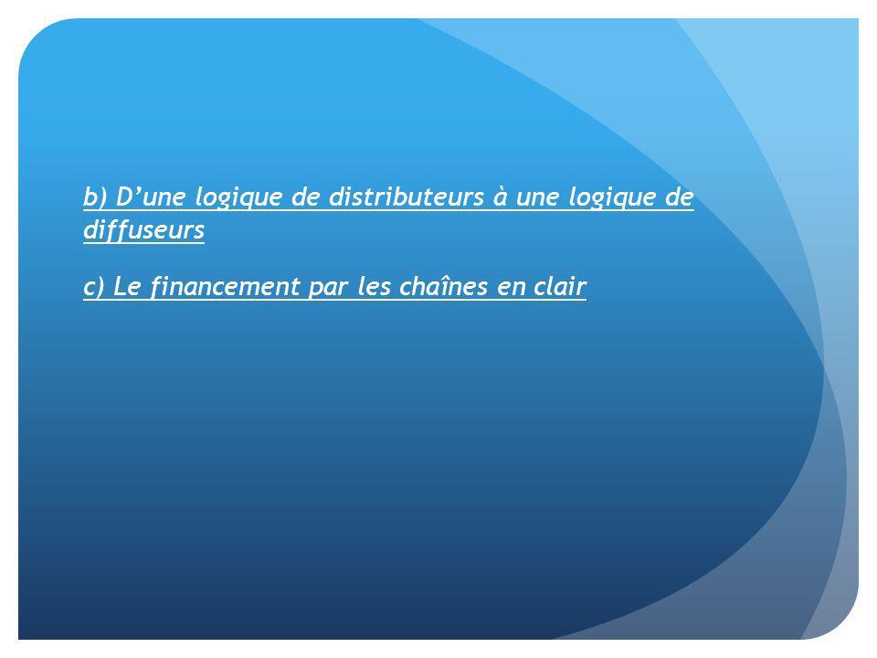 b) D'une logique de distributeurs à une logique de diffuseurs c) Le financement par les chaînes en clair