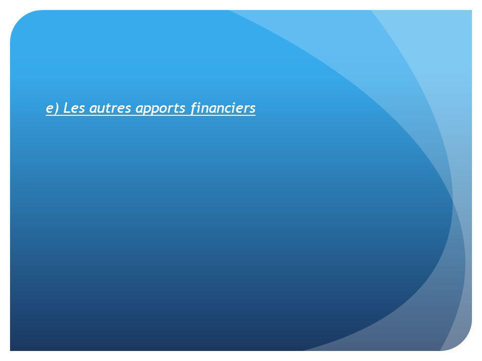 e) Les autres apports financiers