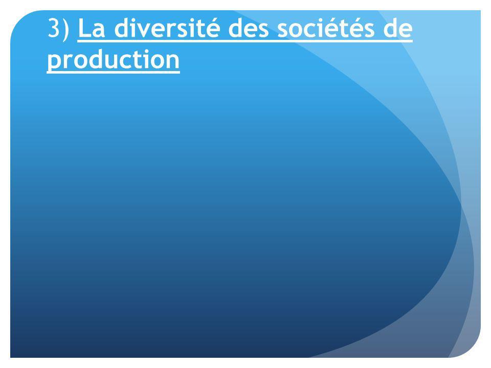 3) La diversité des sociétés de production