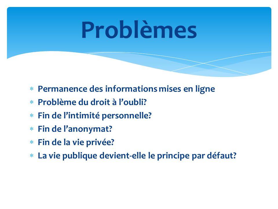 Problèmes Permanence des informations mises en ligne