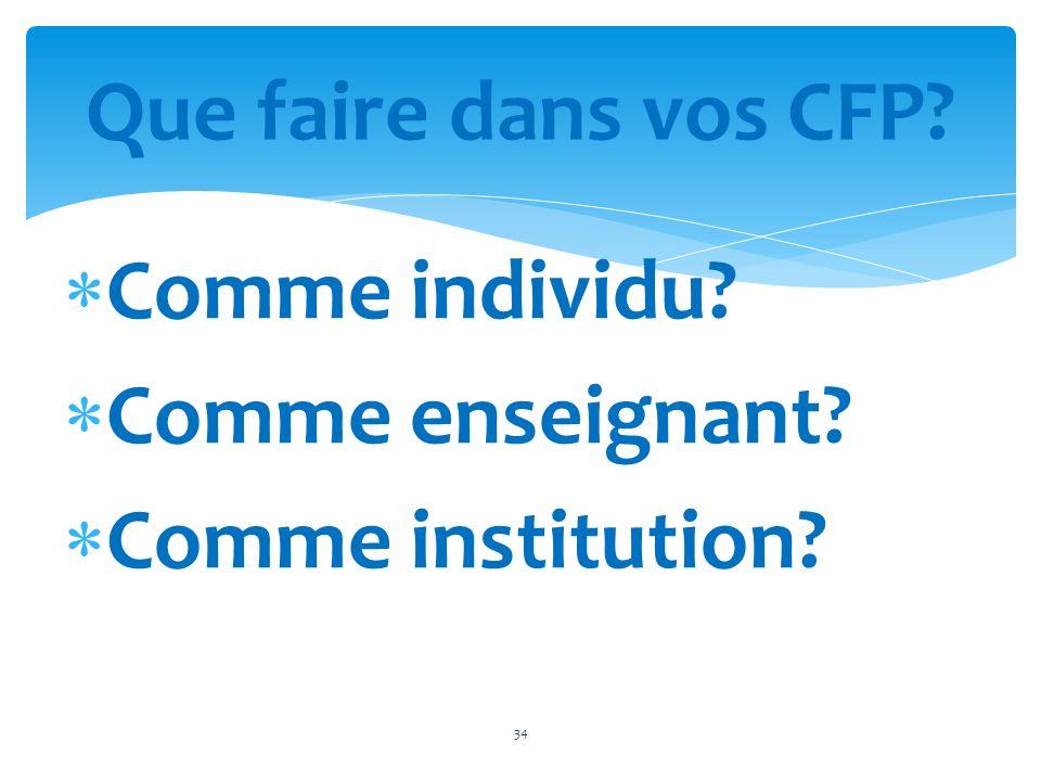 Que faire dans vos CFP Comme individu Comme enseignant Comme institution