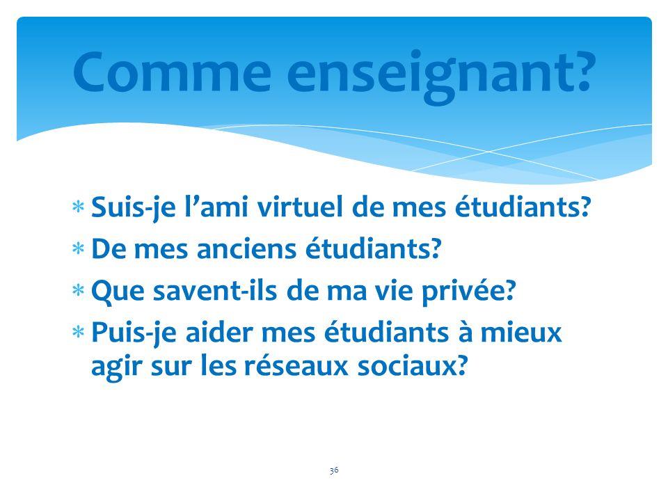 Comme enseignant Suis-je l'ami virtuel de mes étudiants