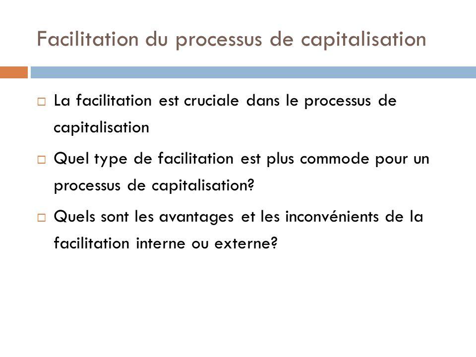 Facilitation du processus de capitalisation